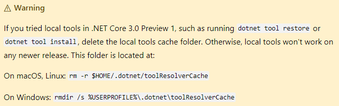 Local tools in .Net core 3.0